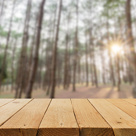 usage: Defocused and blur image of terrace wood and Beautiful landscape for background usage
