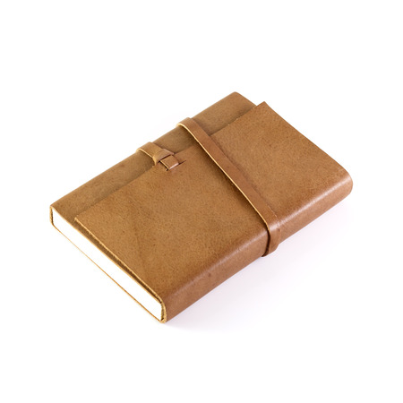 diary: brown Leather notebooks isolated on white background