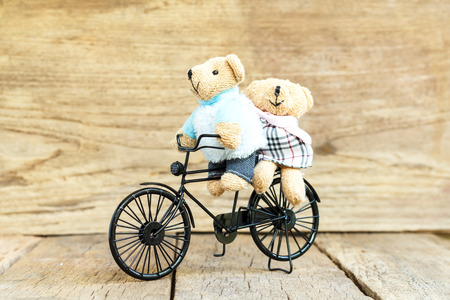 Teddy Bear toy Riding a Vintage Toy bicycle