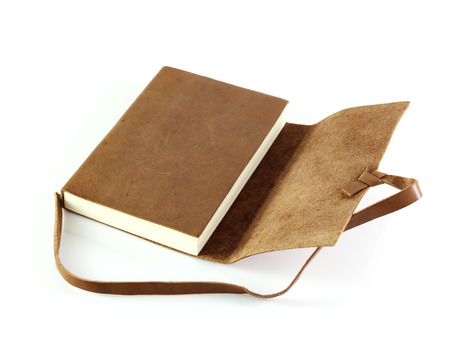 old notebook: brown Leather notebooks isolated on white background