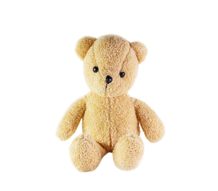 warm things: Teddy bear toy on a white background