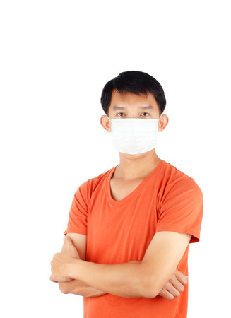 tightness: Asian man wearing a face mask
