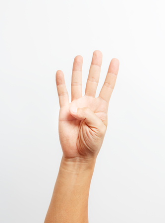 number four: hands counting number four Stock Photo