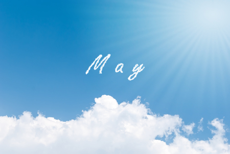 Blue sky background with may clouds word