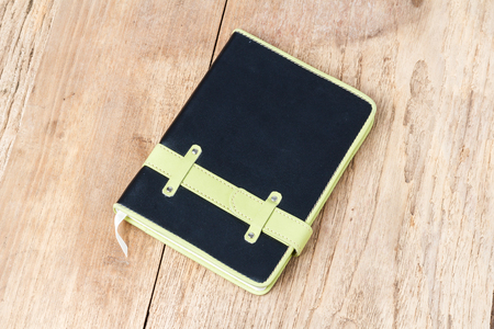 notebook: Leather notebooks on wooden background Stock Photo