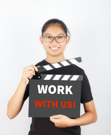 headhunter: WORK WITH US, message on slate film show by Asian girl