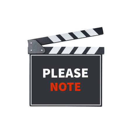 take down notice: PLEASE NOTE, message on slate film