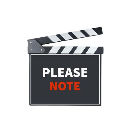 PLEASE NOTE, message on slate film