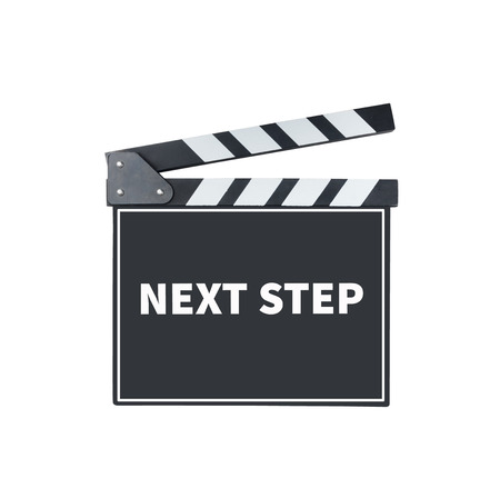 the next step: NEXT STEP, message on slate film