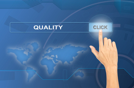 quality work: Business and technology, searching system and internet concept - male hand pressing Search Quality button Stock Photo