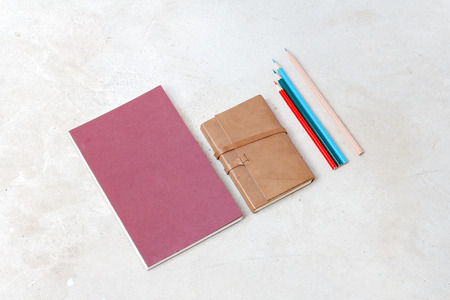 moleskin: Notebook, Business template mock up for adding your text, selective focus Stock Photo