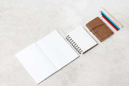 moleskin: Blank open notebook, Business template mock up for adding your text, selective focus Stock Photo