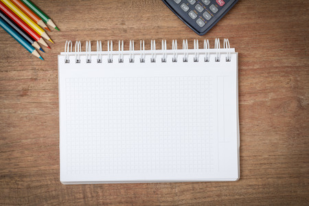 open notebook: Open notebook on wooden background
