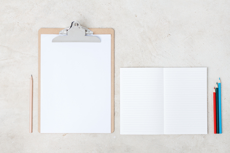 moleskin: Blank open notebook with clip board, Business template mock up for adding your text Stock Photo