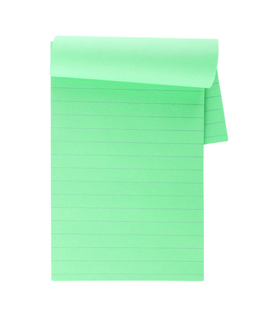 memorize: Green lined note paper isolated on white background Stock Photo