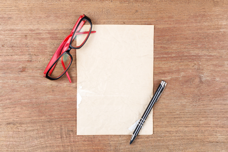 kine: Blank paper with glasses, Business template mock up for adding your text