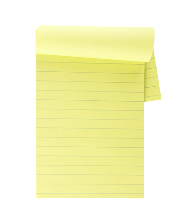 yellow paper: Yellow lined note paper isolated on white background Stock Photo