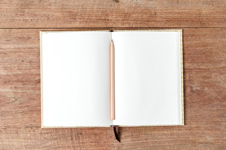 moles: Blank open notebook with pencil on wood table,Business template mock up for adding your text Stock Photo