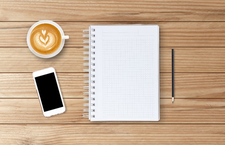 moles: Blank open notebook with coffee cup and mobile, Business template mock up for adding your text