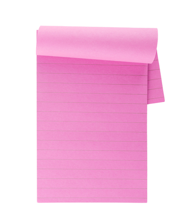 memorize: Pink lined note paper isolated on white background