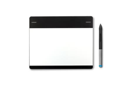 wacom: Graphic tablet with pen drawing isolated on white background