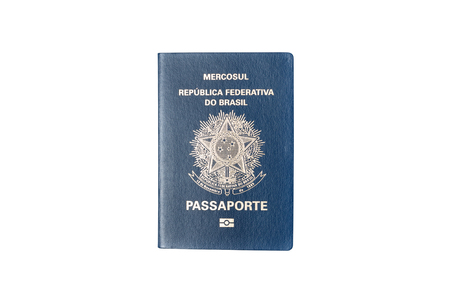 customs official: brazilian passport isolated on white background