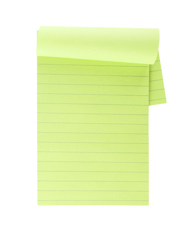 legal pad: Green lined note paper isolated on white background Stock Photo