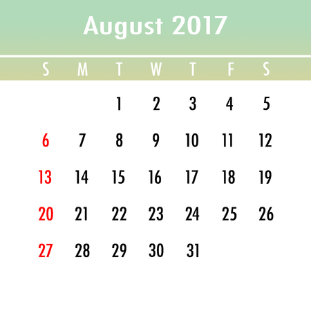 week planner: Calendar Planner for 2017 Year. August. Week Starts Sunday Stock Photo