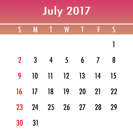 week planner: Calendar Planner for 2017 Year. July. Week Starts Sunday Stock Photo