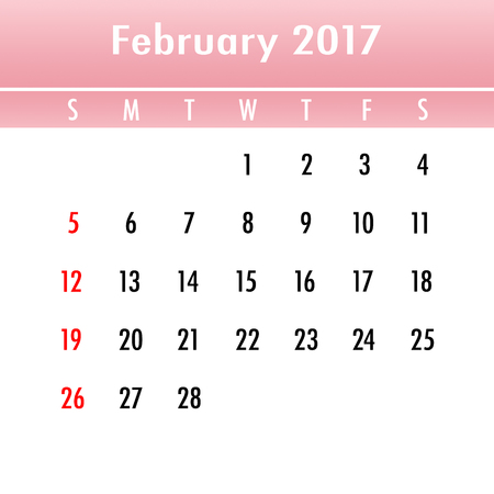 week planner: Calendar Planner for 2017 Year. February. Week Starts Sunday