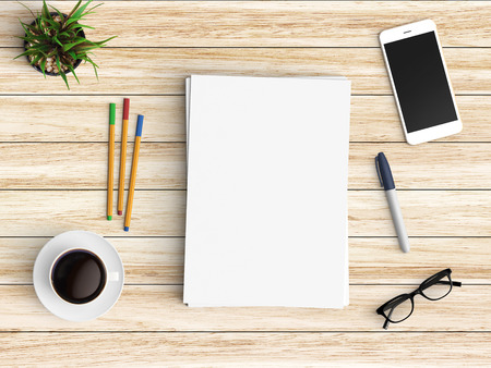 Minimal Office Desk Workplace With Blank Paper, Coffee Cup, Smartphone And  Pen Copy Space