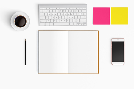 Modern workspace with coffee cup, smartphone, paper, notebook, tablet and laptop copy space on white color background. Top view. Flat lay style. 版權商用圖片