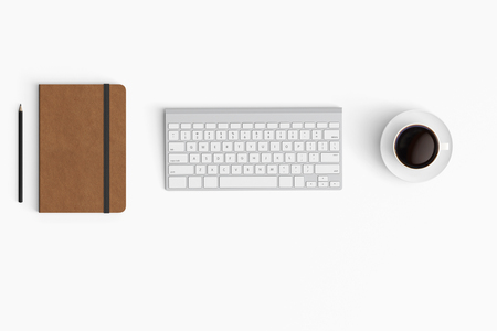 Modern workspace with coffee cup, paper, notebook copy space on white color background. Top view. Flat lay style.
