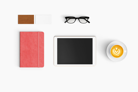 Modern workspace with coffee cup, smartphone, paper, notebook and tablet copy space on white color background. Top view. Flat lay style.