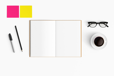 Modern workspace with coffee cup, smartphone, paper, tablet and notebook copy space on white color background. Top view. Flat lay style.