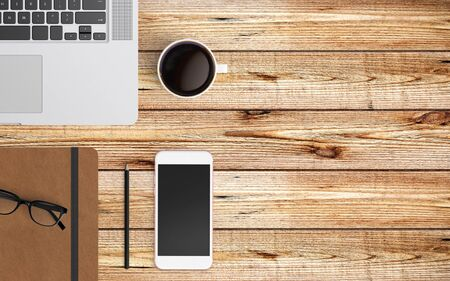 Area di lavoro moderna con laptop, tazza di caffè e spazio copia smartphone su sfondo colorato. Vista dall'alto. Stile piatto.
