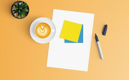 Modern workspace with coffee cup and blank paper copy space on orange color background. Top view. Flat lay style.