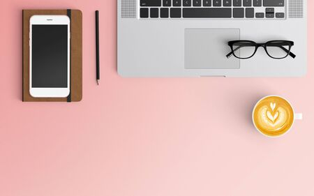 Modern workspace with coffee cup, notebook, smartphone and laptop copy space on pink color background. Top view. Flat lay style.
