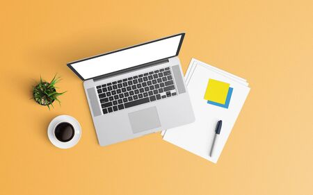 Minimal workspace with laptop, coffee cup and smartphone copy space on color background. Top view. Flat lay style. 스톡 콘텐츠
