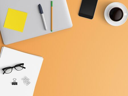 Modern workspace with closed notebook or laptop, pen, smartphone, tablet and coffee cup copy space on color background. Top view. Flat lay style.