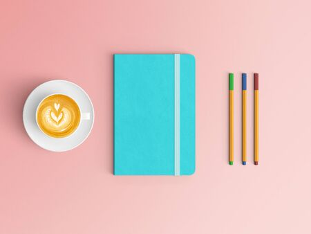 Modern office desk workplace with notebook diary, coffee cup, pencil and smartphone copy space on color background. Top view. Flat lay style.