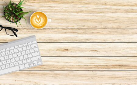 Modern workspace with keyboard and coffee cup copy space on color background. Top view. Flat lay style. 스톡 콘텐츠