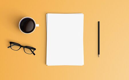 Minimal office desk workplace with blank paper, coffee cup and pencil copy space on color background. Top view. Flat lay style.