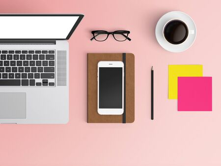 Modern workspace with laptop, coffee cup, notepad, notebook and smartphone copy space on color background. Top view. Flat lay style. 스톡 콘텐츠