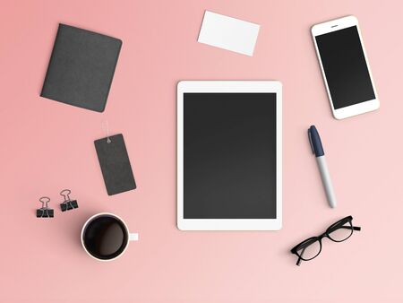 Modern workspace with tablet, coffee cup, smartphone and eyeglasses copy space on color background. Top view. Flat lay style. Stockfoto