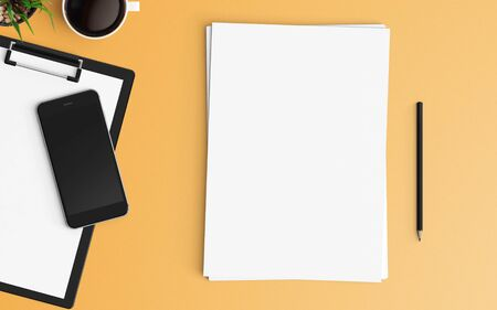 Modern office desk workplace with blank paper, pencil and smartphone copy space on color background. Top view. Flat lay style.