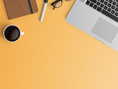 Modern workspace with laptop, coffee cup and notebook copy space on color background. Top view. Flat lay style.