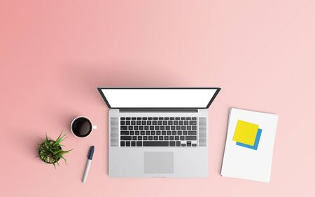 Minimal workspace with laptop, coffee cup and paper copy space on color background. Top view. Flat lay style.