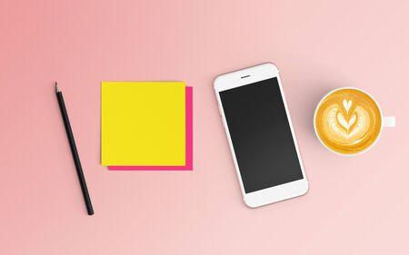 Modern workspace with coffee cup, notepad and smartphone copy space on pink color background. Top view. Flat lay style.