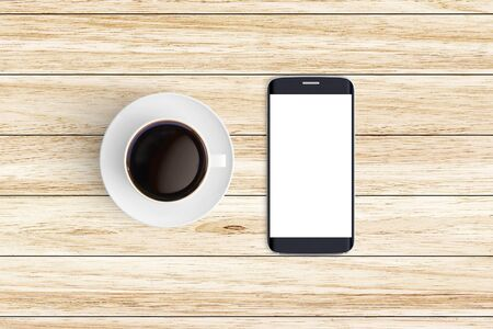 Top view of Cup of coffee in a white cup and smart phone on office desk background